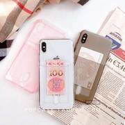 透明简约卡槽卡套一体7plus/x带钱苹果XR插卡手机壳XSmax防摔女款