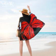 宽松雪纺开衫 外套披肩海边度假沙滩防晒衣女中长款 薄款 新款 夏外搭