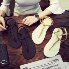 时尚 防滑 简约夹脚凉拖鞋 女夏季平底纯色人字拖学生罗马沙滩鞋 凉鞋