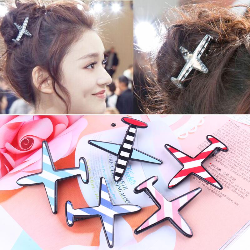 韩国饰品日韩时尚条纹飞机发夹.