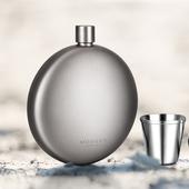 德国钛合金酒壶便携高档威士忌纯钛金属酒壶304不锈钢小酒壶随身