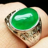 胡二翡翠 碧玉金镶玉男士大戒指朋克祖母绿色玉石绿宝石戒面扳指