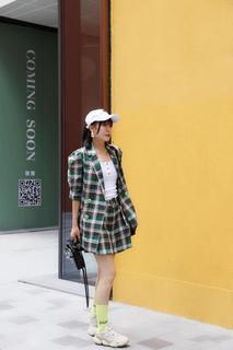 2019夏秋韩版格子西装套装女休闲宽松短裤麻料两件套复古时尚女装