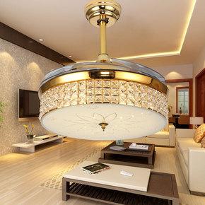 电风扇带LED的隐形吊扇灯 客厅金色水晶隐形风扇吊灯餐厅电扇灯