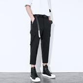 腰带立体口袋设计黑色显瘦八分哈伦裤 休闲裤 男阔腿工装 春夏个性