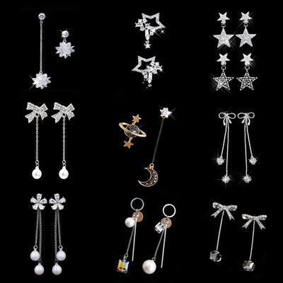 韩国礼盒装s925耳环长款耳线女个性不对称吊坠几何耳饰纯银针耳钉
