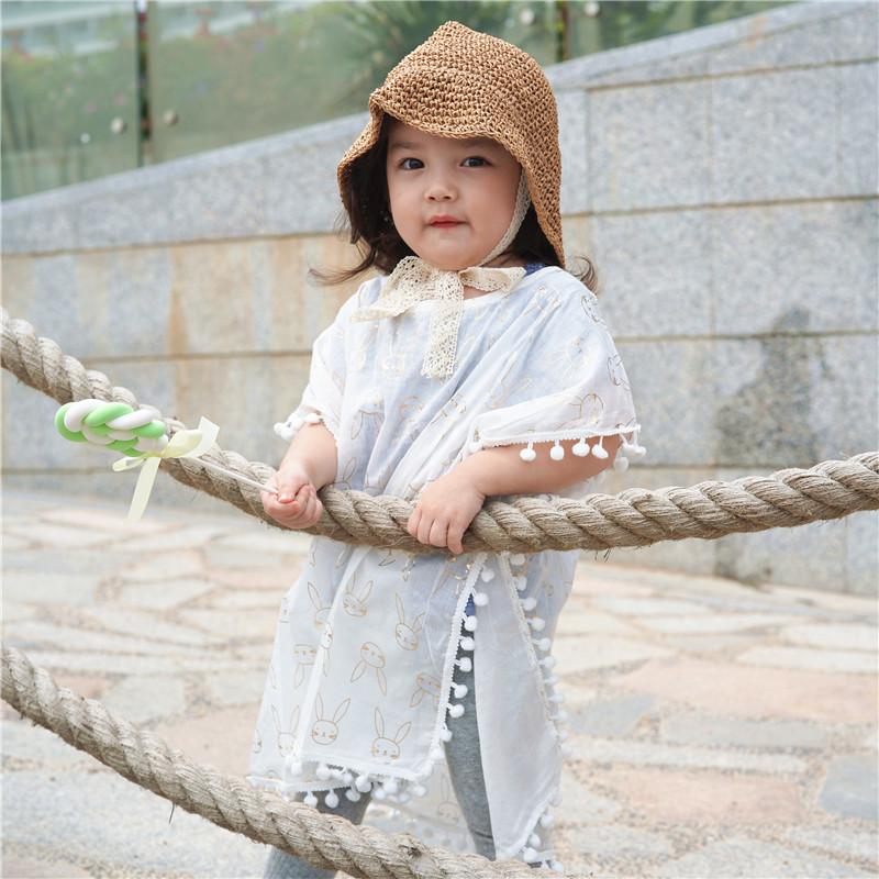 品牌原创ins儿童防晒衣 薄款透气 小白兔女宝宝韩国 女童沙滩罩衣