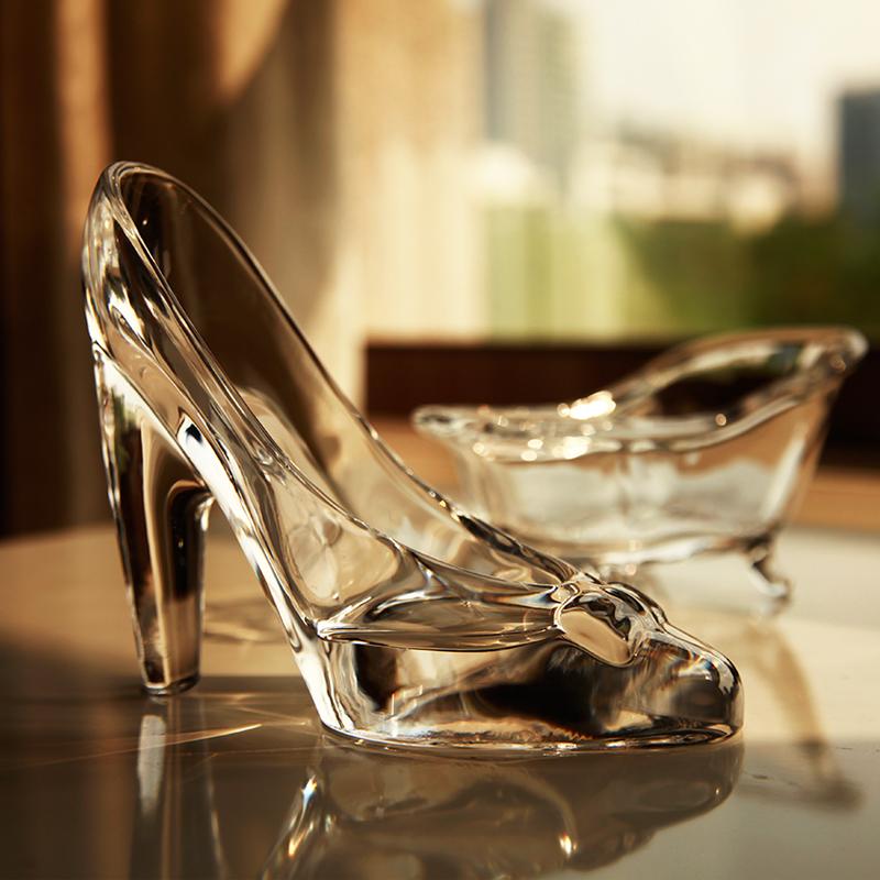 梦想家灰姑娘水晶玻璃高跟鞋透明玻璃小饰品婚庆派对礼物