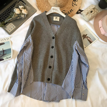 Chen Mimi's 18 Autumn and Winter New Women's Dress Korean Version Loose Knitted Shirt with Spliced Stripes and Two Fake Shirts