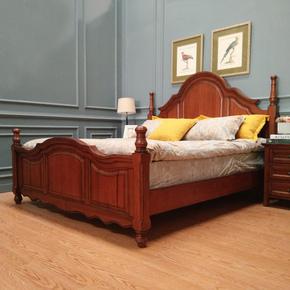 木朵朵家具美式原木婚床卧室1.8m1.5m双人床乡村田园婚床定制