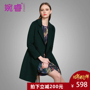 100%羊毛双面呢子大衣婉睿秋冬季新款中长款加厚无羊绒毛呢外套女