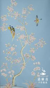 手绘墙纸 丝绸墙纸 真丝墙纸 壁纸 壁画 背景墙 艺术墙布 花鸟