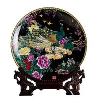Jingdezhen ceramic ornaments home decorations hanging plate crafts living room wine cabinet black rich figure decorative plate