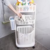 日本进口多功能三层脏衣篮带轮洗衣篮收纳筐浴室洗护用品置物架