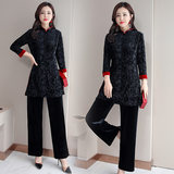 Tang suit women's retro-Republic style women's jacket in the long spring and autumn improved seven-sleeve cheongsam two sets