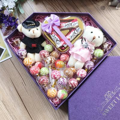 阿尔卑斯棒棒糖德芙巧克力钻石糖果礼盒装送女友六一儿童节日礼物