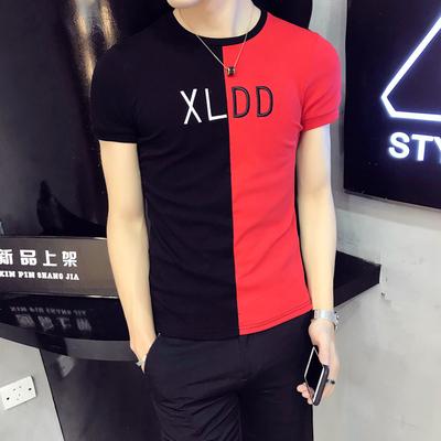 夏装男士紧身S小码短袖韩版修身精神T恤社会小伙夜店短款显瘦半