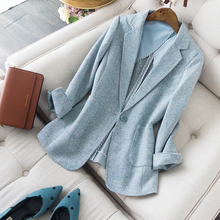 Two-color Morandi wool suit with hard to shed its whiteness new dress jacket in spring