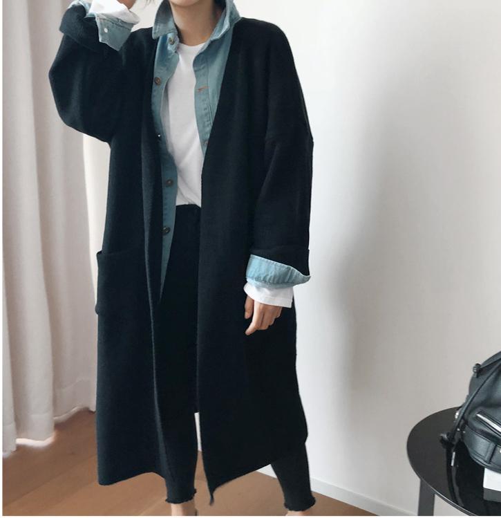 韩国大码秋装2019大码无领宽松口袋装饰蝙蝠袖长款针织开衫122