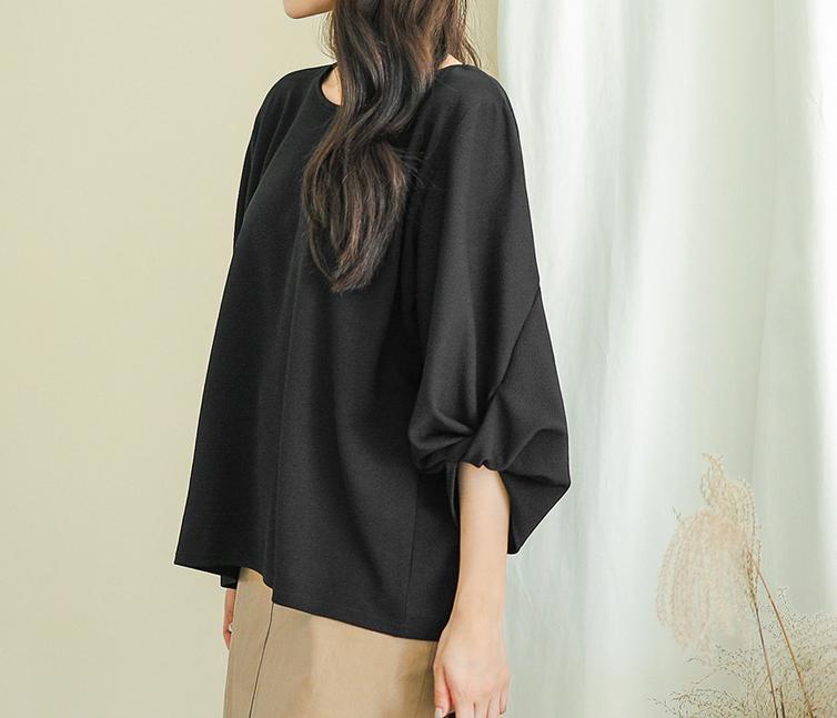韩国大码秋装2019大码圆领蝙蝠袖超肥时尚袖挽花中袖衬衫87