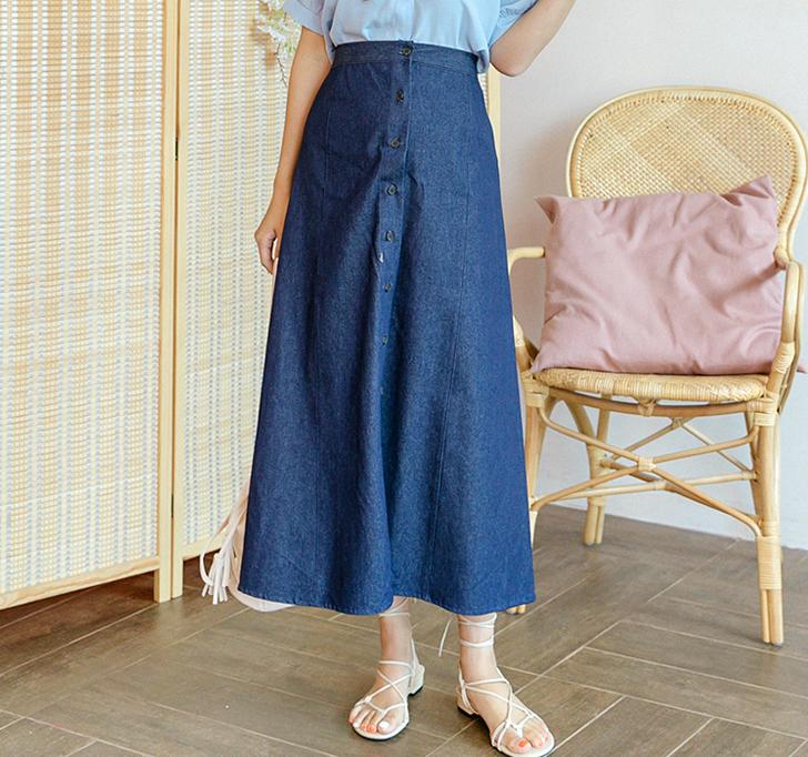 韩国大码夏装2019大码拉链系带显瘦裙摆宽松长牛仔半身裙87