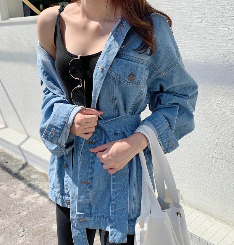 韩国大码夏装2019大码翻领口袋装饰腰带装饰气质帅气牛仔外套122