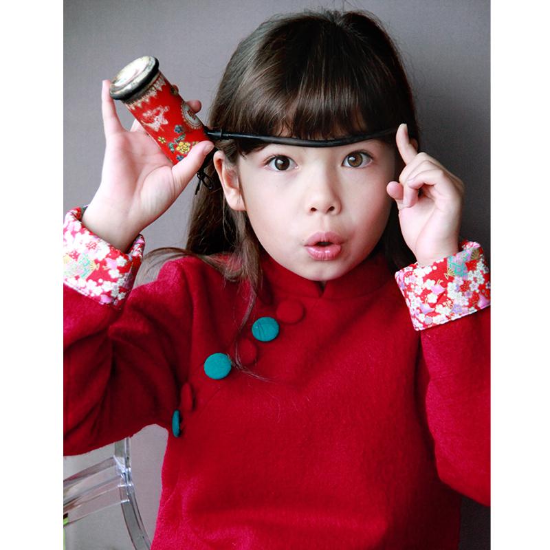雅童小铺 大红色女童针织纯羊毛长袖旗袍裙唐装旗袍童装连衣裙冬