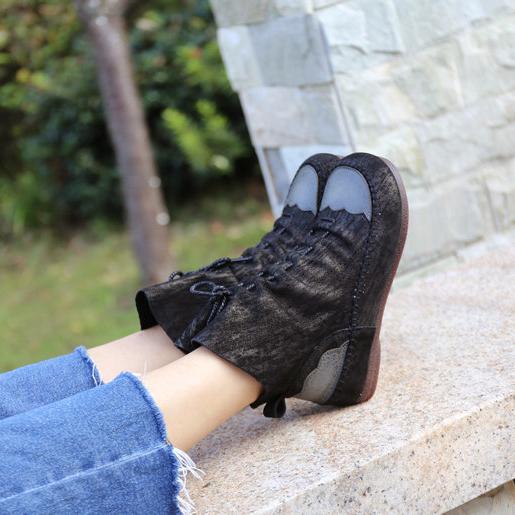 女鞋2019新款春季马丁靴 英伦风手工裸靴休闲真皮增高瘦腿短筒靴