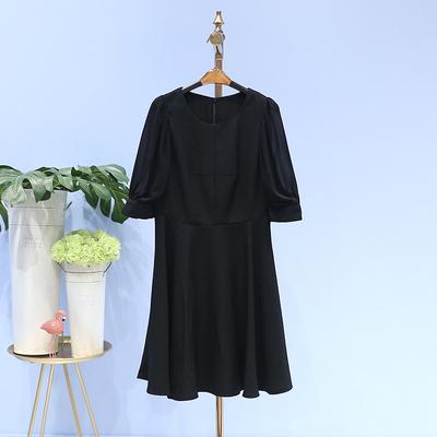 九期●新款连衣裙2018夏装品牌折扣女装8B1000圆领气质中袖裙显瘦