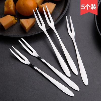 居家家不锈钢水果叉儿童水果签5个装 创意家用吃水果甜品的小叉子