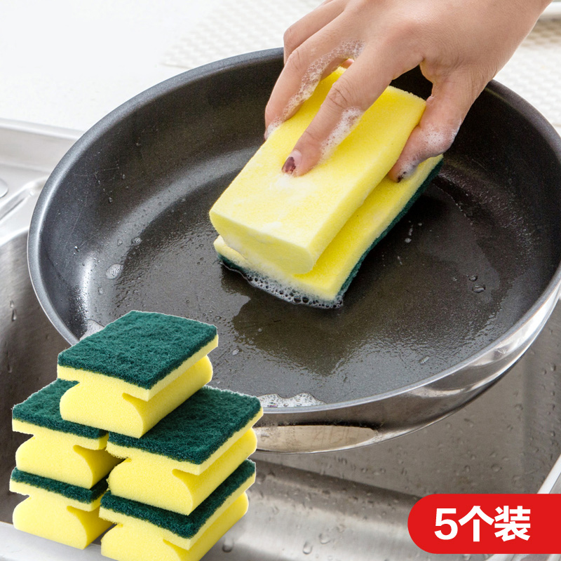 居家家 工字型清洁海绵擦加厚百洁布 厨房用品强力去污洗碗布刷锅