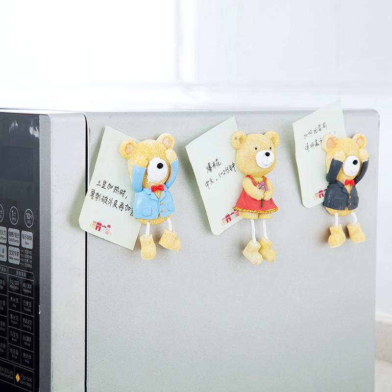 居家家小熊立体冰箱贴可爱卡通留言磁贴创意个性吸铁石磁铁磁性贴