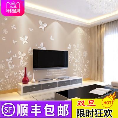 现代简约3D立体客厅电视背景墙壁纸影视墙墙纸大型壁画无缝墙布实体店