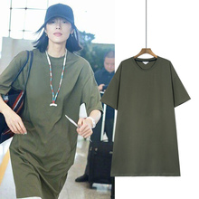 Liu Wenxing's Green T-shirt, Loose Leisure, Short Sleeve, Large Size Women's Medium and Long Style, Summer Men's and Women's Korean Version, 2019