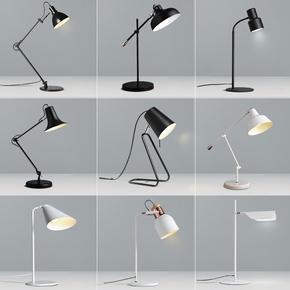 现代简约书桌摇臂护眼台灯北欧风创意长臂工作书房卧室LED床头灯