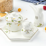 Tangshan Bone Porcelain Hotel seasoning set vinegar pot pepper pot hot pot can toothpick cage small tray tableware set