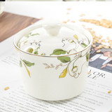 Tangshan bone china bird's nest stew pot water-based soup pot ceramic stew pot with lid spicy jar chili pot seasoning jar