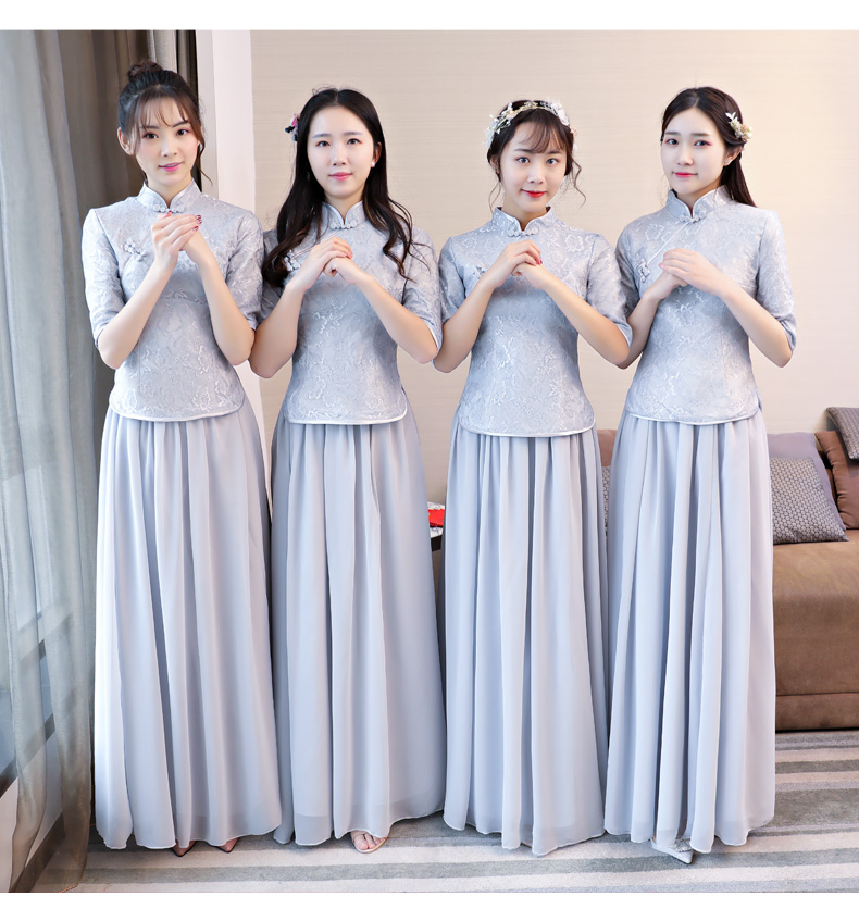 Chinese bridesmaid dress rental long wedding dress skirt female sister group 2018 new people