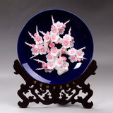 Luoyang Peony Flower Dehua Ceramic Art Flower Plate Hanging Plate Handicraft Home Decoration Exquisite Articles