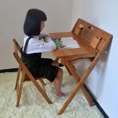 楠竹折叠儿童书桌学习桌椅套装小学生写字桌课桌椅家用环保