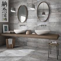 纳杰简约现代仿古砖浴室瓷砖防滑灰色水泥砖厨房卫生间地砖墙砖
