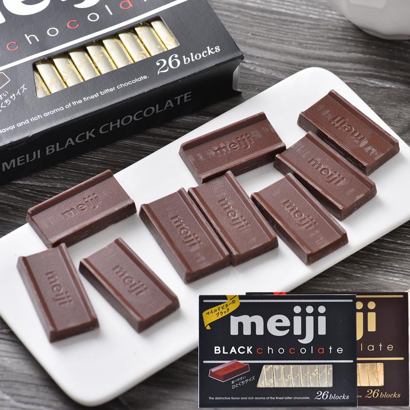 朱古力 26枚装 包邮 奶香 日本进口 纯黑钢琴巧克力 Meiji明治 4盒