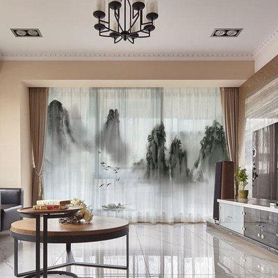 畫意 多圖山水窗簾新中式中國風書房客廳臥室落地飄窗全遮光布藝網上商城