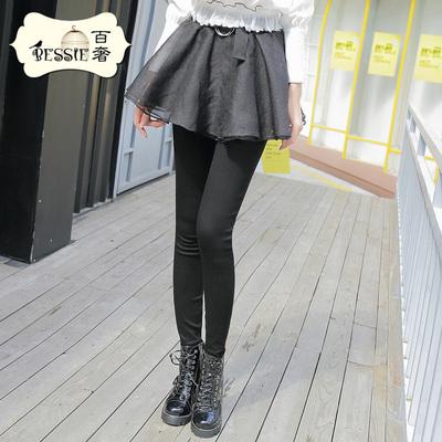 BESSIE百奢2017新款秋冬装裤子女韩版简约显瘦黑色假两件蓬蓬裙裤