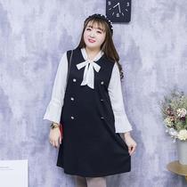 七彩霓裳大码女装春装新款2019学院风中长款200斤甜美胖mm连衣裙