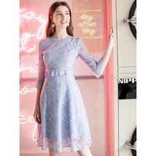 女装 夏娜 2019春季新款 洋气圆领法式桔梗裙气质假两件蕾丝连衣裙
