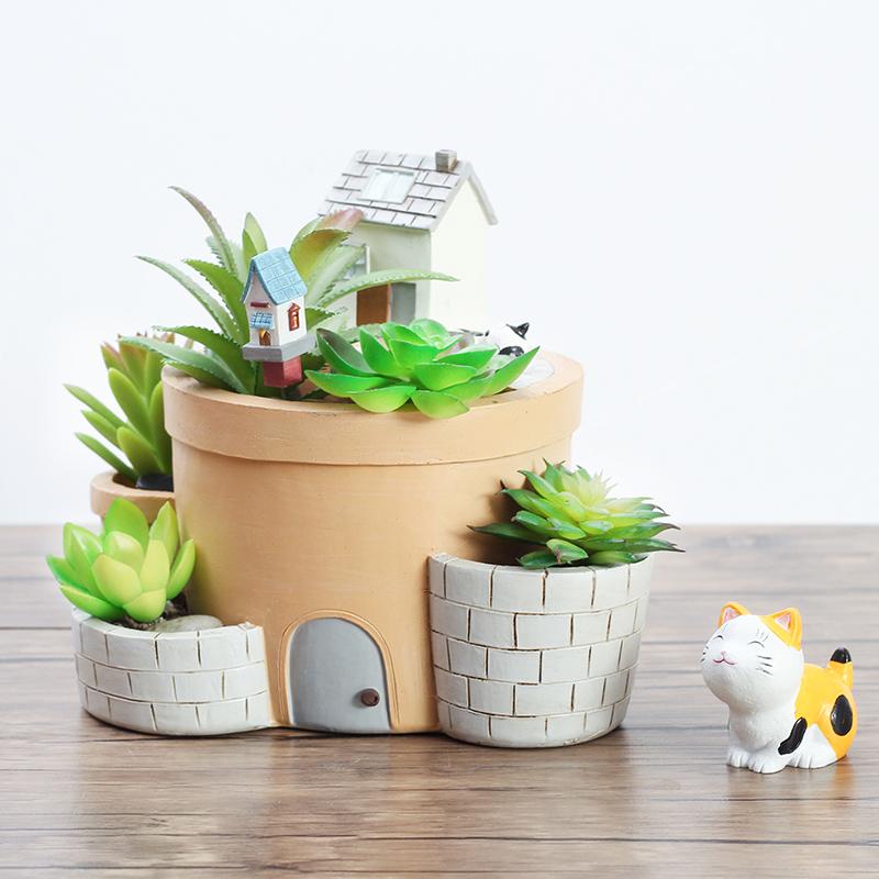 zakka创意小屋房子多肉植物花盆个性盆栽微景观动物花盆装饰花器3元优惠券