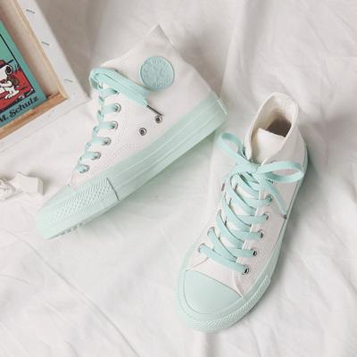 韩版ulzzang果冻高帮帆布鞋女鞋夏季新款初恋绿清新纯色小白鞋子