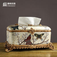 Ins American tissue box decoration home luxury napkin tray creative living room coffee table European luxury luxury tray