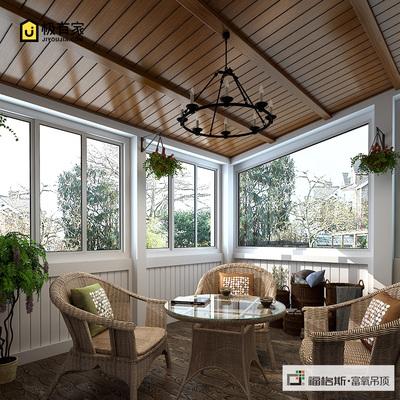 福格斯阳台餐厅客厅吊顶造型定制木纹铝扣板长条形集成吊顶天花板
